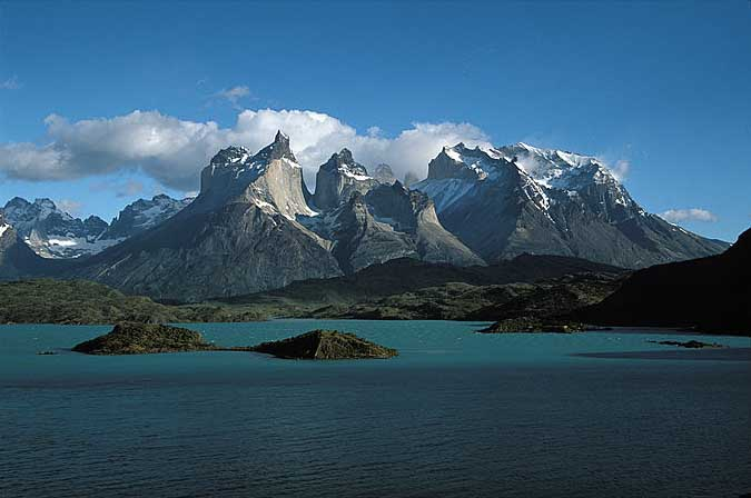 Cuernos Mountains and Lake Pehoe, Torres del Paine, Patagonia.